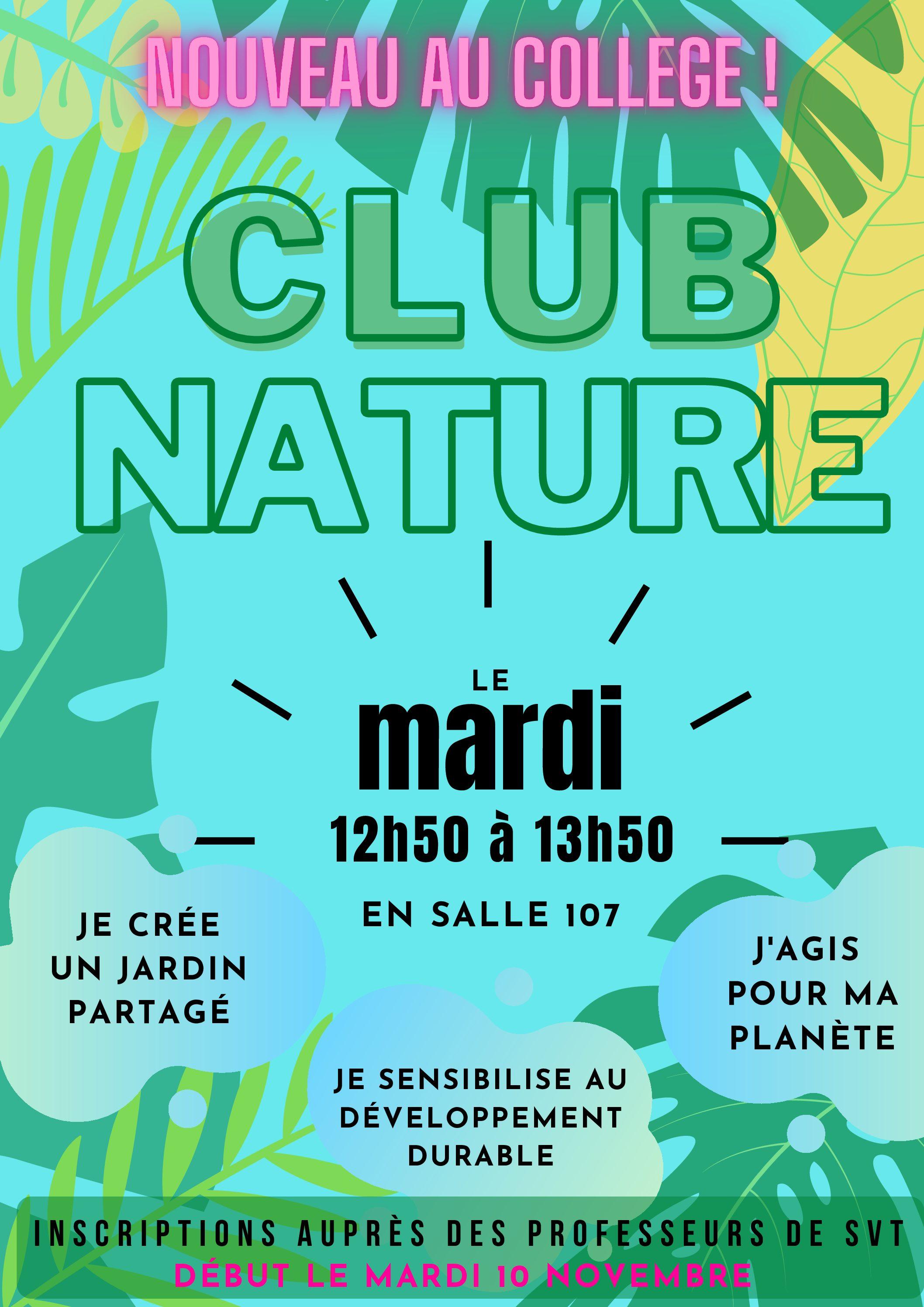 Un nouveau club au collège : le Club Nature !